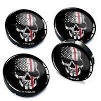 4x 60mm / 55mm Universal Wheel Hub Cover Center Rim Caps Car USA Flag Skull Red