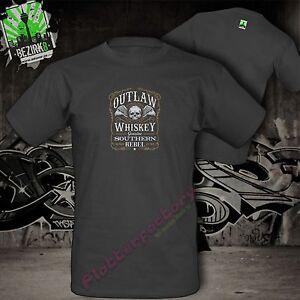 T-Shirt Outlaw Whiskey Whisky Rebel Biker Motorrad Jim Beam Jonny Walker Tee