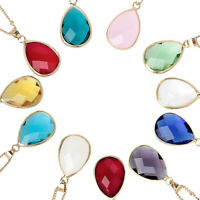 Minimalism Twelve Months Birthstone Crystal Drop Pendant Necklace For Women-