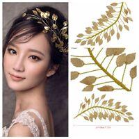 Crown Forehead Women Tiara Cinnamon Bridal  Headpieces Gold Leaf Headband