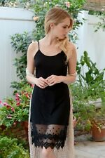 BLACK Layering Pointed Lace CAMISOLE Tank Top Long Slip DRESS EXTENDER XS/S