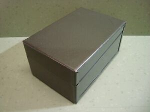 Vintage Large Metal Index Card Recipe Box Dark Green