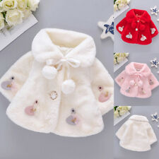 Toddler Baby Girl Winter Cartoon Faux Fur Cape Windproof Coat Warm Cloak Outwear