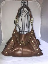 Temperley London Large Chocolate Brown Hobo Antiqued Gold Studded Footed Bag