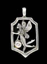 Fairy  Charm/  Pendant in Pewter / Frame with Stone / Large Loop on Top