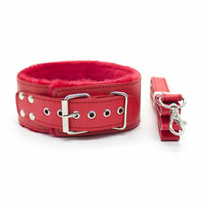 Quality PU Leather Soft Furry Neck Collar Choker Neckcollar + Leash Red