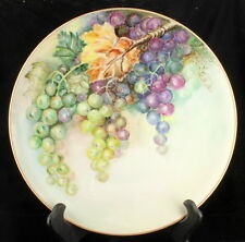 ANTIQUE HEINRICH & CO HP WALL PLATE FRUIT GRAPES AUTUMN BAVARIA GERMANY 10""
