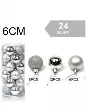 24 Luxury Shatterproof Glitter Christmas Baubles Decorations Silver 6cm
