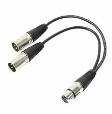 3pin xlr female jack to dual 2 male plug Y splitter cable adaptor 0.3m cord RS