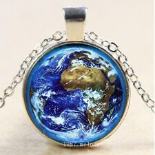 Photo Cabochon Glass Silver Fashion Pendant Necklace(glowing earth)