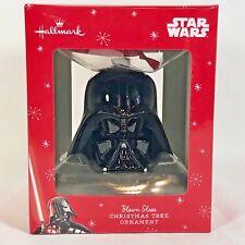 Christmas Ornament Hallmark Star Wars Darth Vader Head Black Blown Glass Red Box