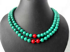 2 Strand Round Green Howlite Turquoise Middle Red Coral Necklace 8mm Handmade