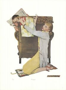 """NORMAN ROCKWELL The Decorator 27"""" x 20"""" Offset Lithograph Folk Art Multicolor"""