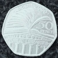 50p COIN ~ 2000 ~ 150th Anniversary of the Public Libraries Act  ~ CIRCULATED