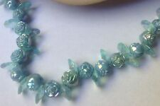 Vtg Mid Century Iridescent Blue Rosette Early Plastic Beads Pull On Necklace
