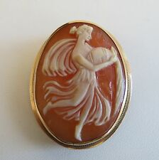 Lovely antique  Aquarius Greek Goddess of water 14k Gold cameo pendant brooch