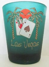 LAS VEGAS  DOUBLE ACES, PALM TREES & SUNSET FROSTED GREEN  SHORT SHOT GLASS