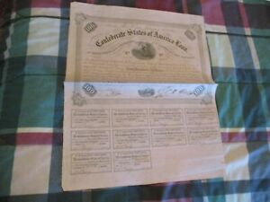 1863 Confederate $100 Loan Bond Coupons Obsolete Currency Civil War Paper Money
