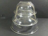 PYREX Set of 3 Vintage Clear Rim Nesting/Mixing Bowls #325,323,322, 2.5L,1.5L,1L