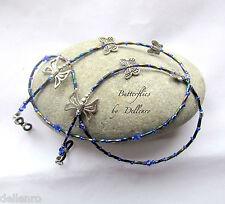✫ Mariposas ✫ Azul Plata con cuentas de usuarios de gafas gafas cadena para gafas Titular
