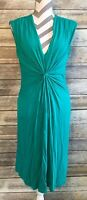 Calvin Klein Dress 8 Green Sleeveless Rayon Stretch Ruched Shirred Sheath Vneck