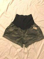 a:glow Maternity Chino Shorts; Full Belly, Stitched Dwn Cuff; Grn Camo, 14,16,18