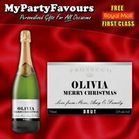2 x Personalised Prosecco/Champagne Bottle Labels (Silver) - Christmas Gift!