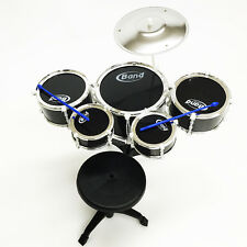 Kids Black 5 pc Drum Toys Boys Girls Music Children Black Drum Set Stool Kids