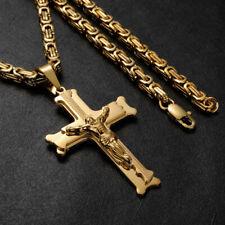 Herren Gold Königskette MIT Kreuz Anhänger Schmuckset 18 karat vergoldet 60cm