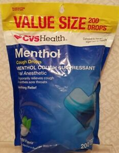 Menthol Cough Drops VALUE SIZE 200 DROPS CVS Health exp. 8/2021