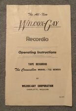 Wilcox Gay Recordio Operating Instructions Tape Model 732 Manual Guide Reel to
