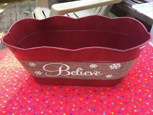 "Decorative Red Tin Bucket For Christmas ""BELIEVE"""