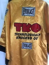Everlast Robe TKO Technologically Knocked Put Yellow Satin Size Small Hood
