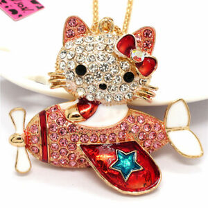 Pink Rhinestone Lovely Bow Kitten Cat Aircraft Pendant Betsey Johnson Necklace