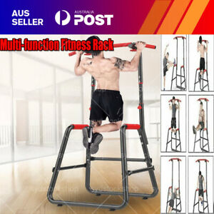 Adjustable Pull Up Bar Power Tower Dip Station Exercise Home Gym Strength Traini