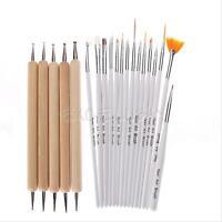 20pc UV GEL Acrylic Nail Art Tips Design Dotting Painting Pen Polish Brush Set E