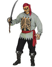 Skeleton Pirate Mens Adult Zombie Buccaneer Halloween Costume