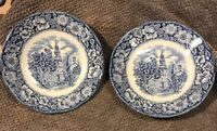 Liberty Blue Historic Colonial Scenes Old North Church Two Saucers