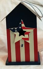 Birdhouse Patriotic Wooden Vertical Red White Stripes Tin Roof Star Opening New