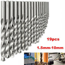 19PCS HSS High Speed Steel Diamond Drill Bit Kit Tools Coated Twist 1.5mm-10mm