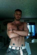 Shirtless Masculine Hairy Male Hunk Tattoos Beard Tall Guy Photo Pic 4X6 P1962*