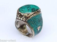 Traditioneller Tibetischer Türkis Ring tibetan turquoise ring neusilber  Nr.3