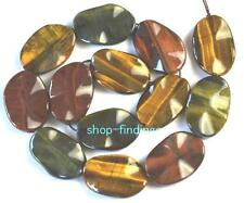 oval wave 20x30mm colorized Tiger eye flat loose Beads 15""