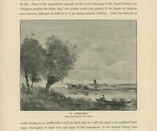 ANTIQUE SOFT DREAMY LANDSCAPE HOUSE BOAT TREES WINDMILL RUSTIC SMALL ART PRINT