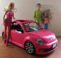 2013 Mattel Barbie Volkswagen Beetle Car Pink VW With Dolls Lot