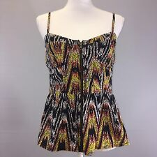 Arden B Womens Shirt Small Black Multicolor Aztec Print Zip Up Peplum Top