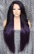 "38"" Long Lace Front Wig wavy bangs Purple Black mix Hair Piece Fashion WEPC"