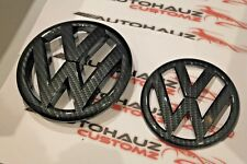 VW GOLF MK 6 VI CARBON FIBRE FRONT GRILLE BADGE REAR BOOT BADGE SET