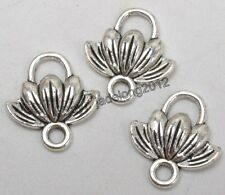 20pcs Tibetan Silver Charms Lotus Flower Pendant Connector Jewelry 12x11MM C3275