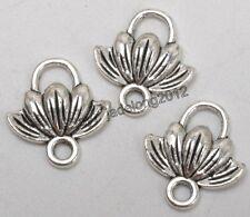 20pcs Tibetan Silver Charms Lotus Flower Pendant Connector Jewelry 12x11MM C3275